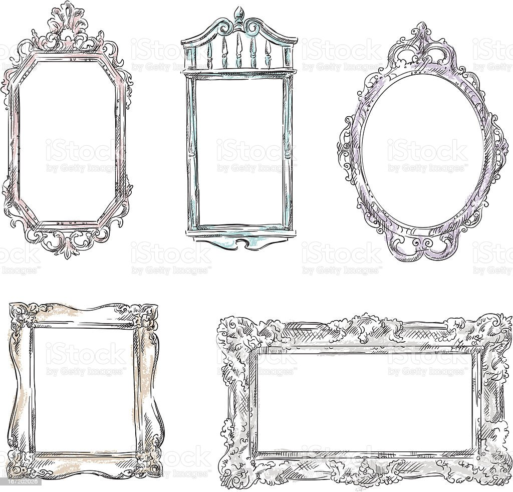 Set of retro frames isolated on a white background royalty-free stock vector art