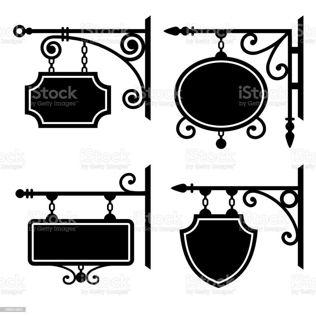 Set of retro graphic forged signboards vector art illustration