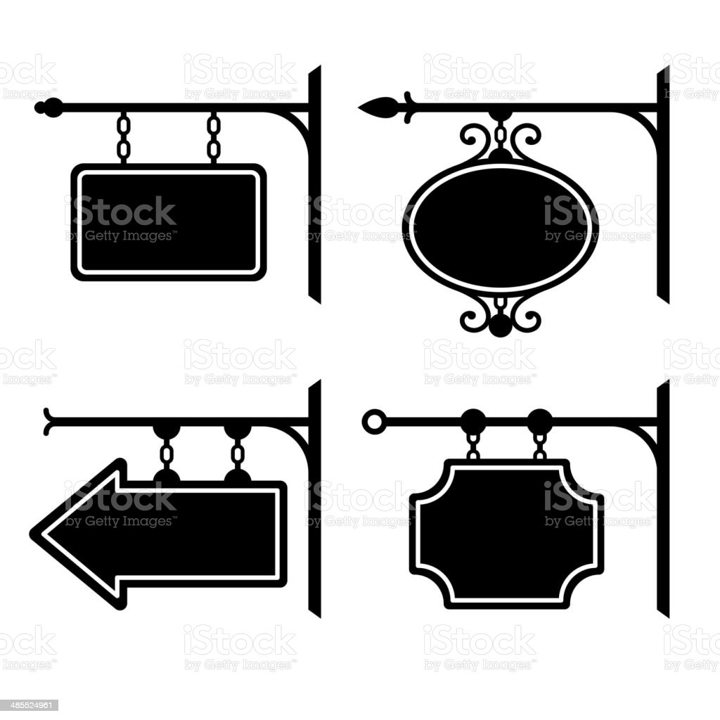 Set of retro graphic forged signboards. Vector royalty-free stock vector art