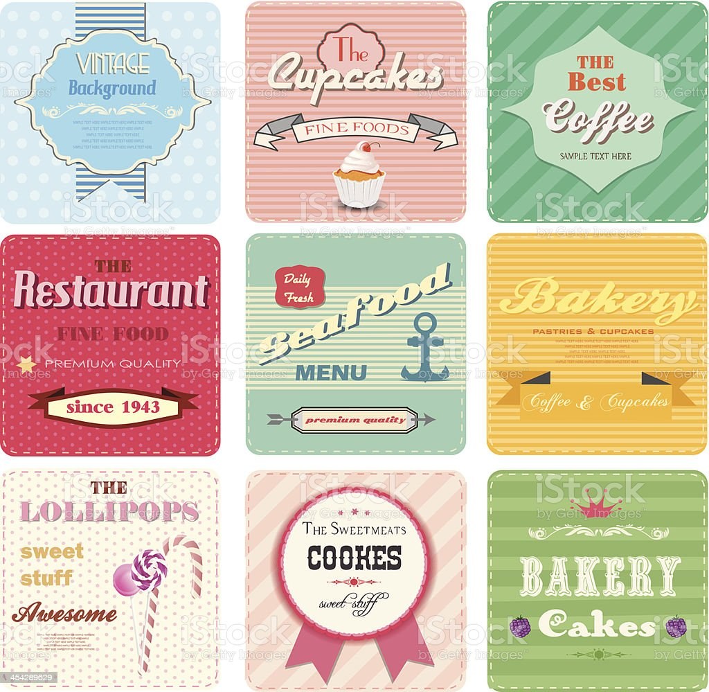 Set of retro label for bakery, coffee shop, restorant.Vintage cards royalty-free stock vector art