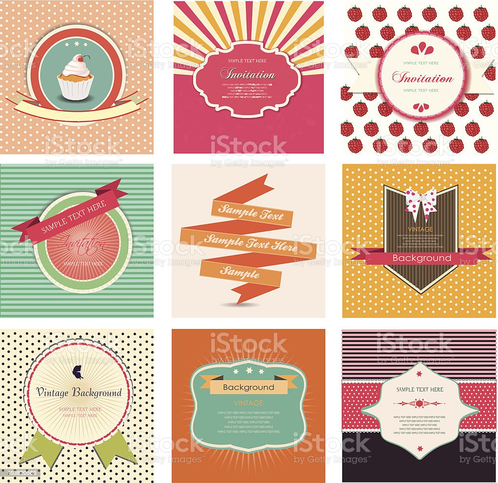 set of retro labels and vintage frames royalty-free stock vector art