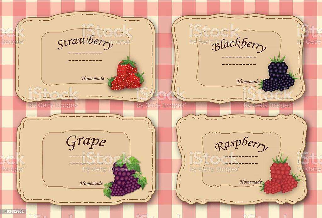 Set of retro labels for jam vector art illustration