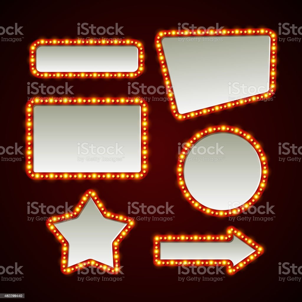 Set of retro light frames. Vector illustration vector art illustration