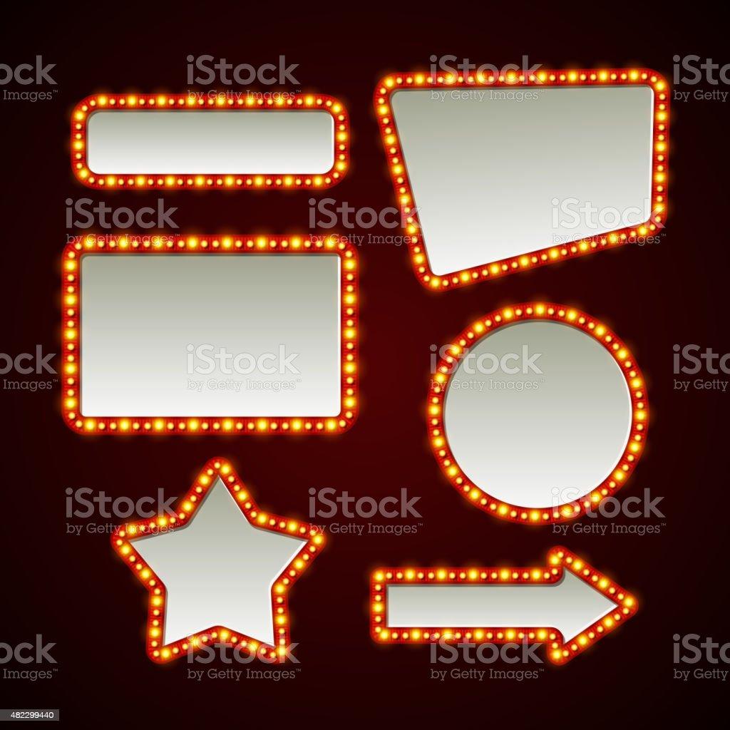 Set of retro light frames. Vector illustration vector art illustration