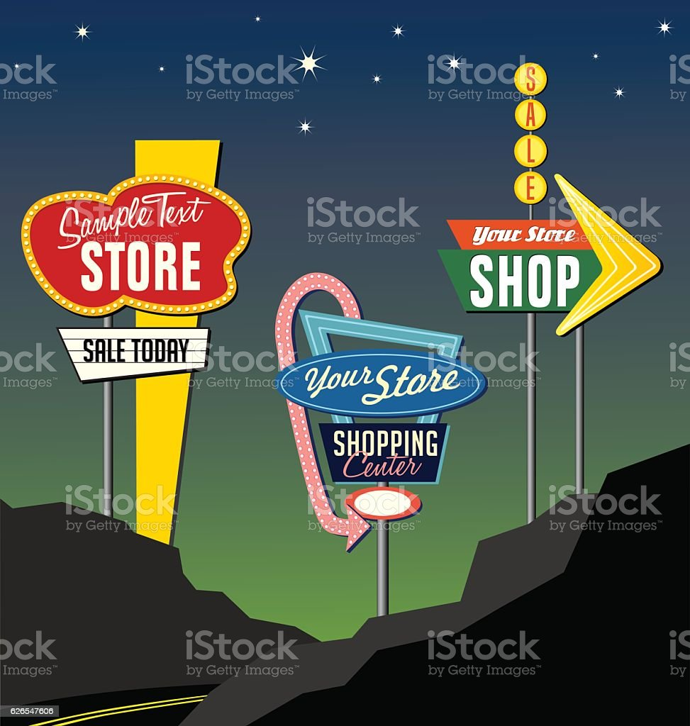 set of retro lighted roadside signs. Edit for your design. vector art illustration