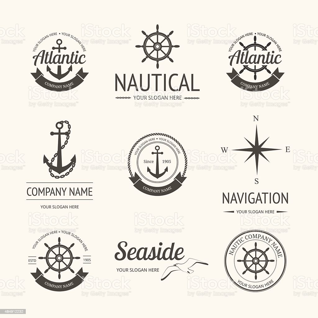 Set of retro nautical labels vector art illustration