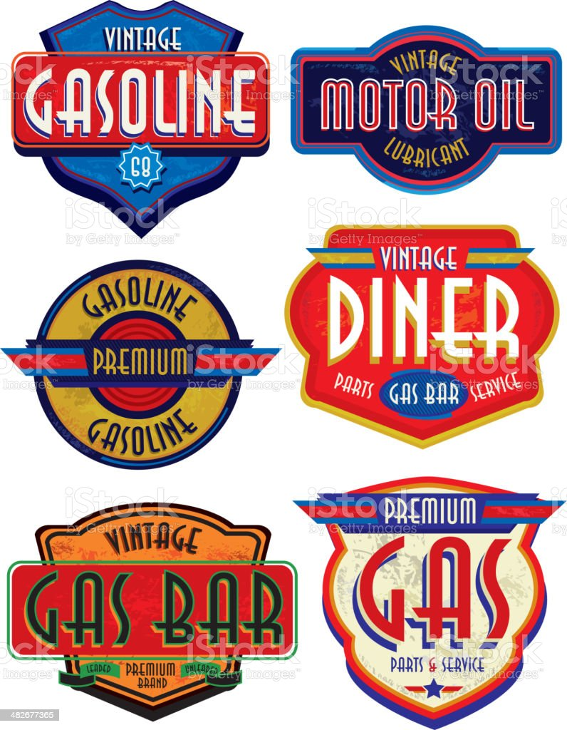 Set of retro revival or Vintage Gas Bar signs vector art illustration