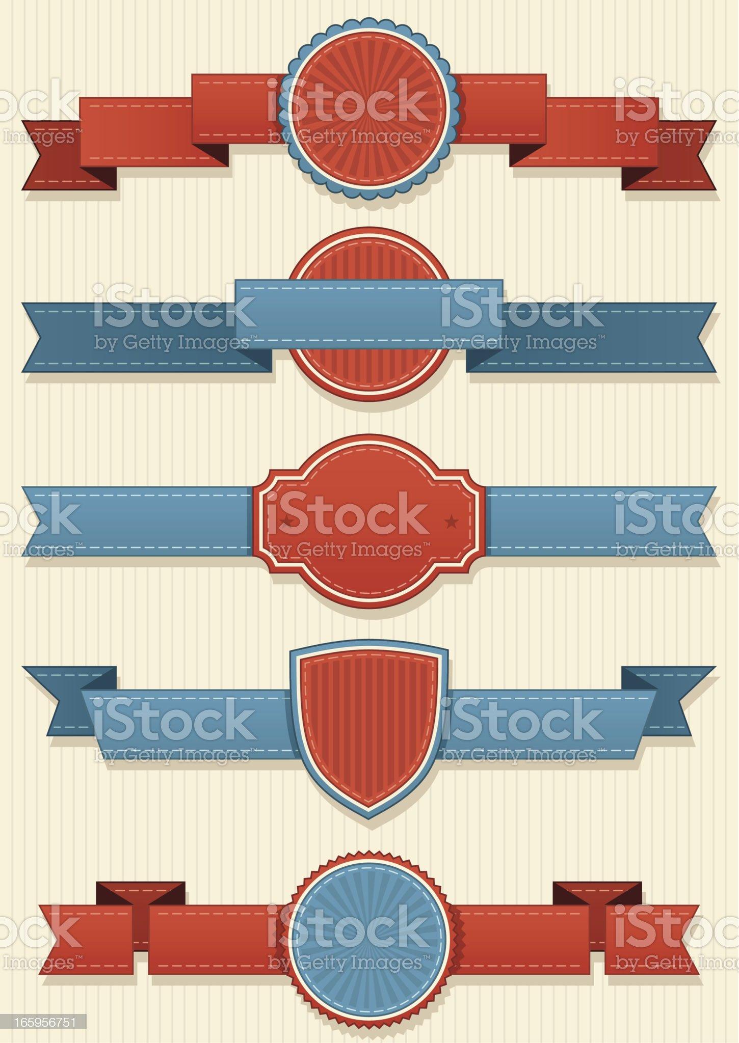 Set of retro ribbon elements and badges royalty-free stock vector art