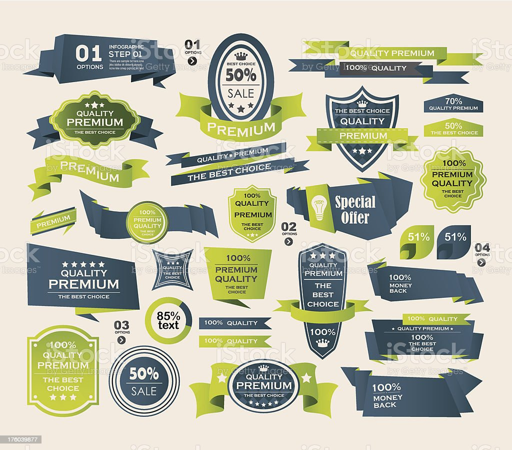 Set of Retro ribbons and labels ,Origami banners vector art illustration