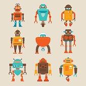 Set of Retro Robots