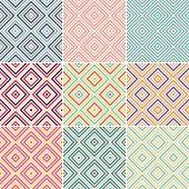 Set of retro style, striped argyle pattern backgrounds.