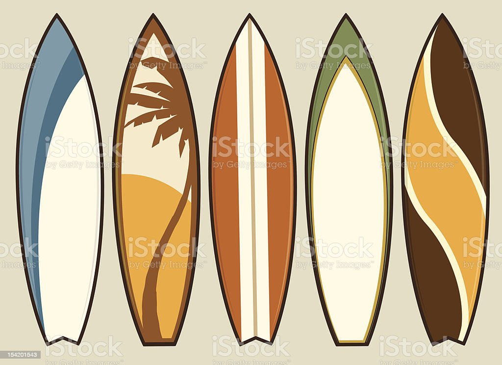 Set of Retro Surfboards vector art illustration