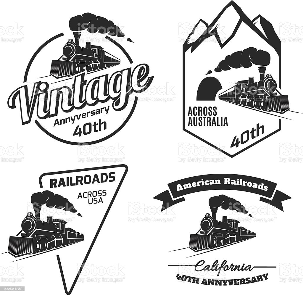 Set of retro train emblems and icons. vector art illustration