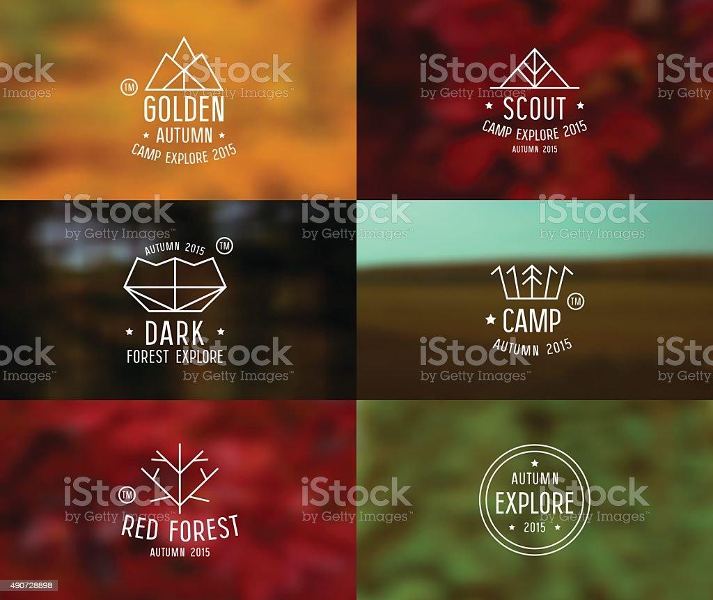 Set of retro vintage badges and card with blurred backgrounds vector art illustration