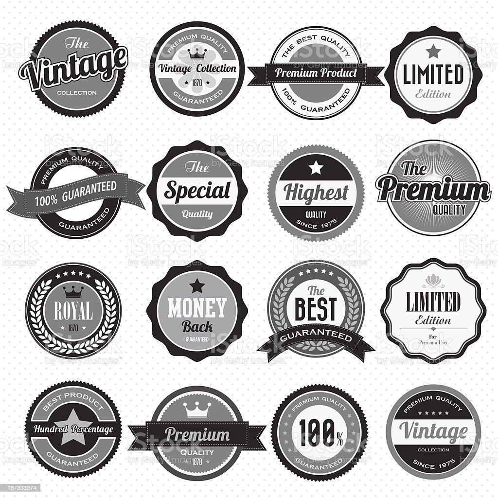 Set of retro vintage badges and labels vector art illustration