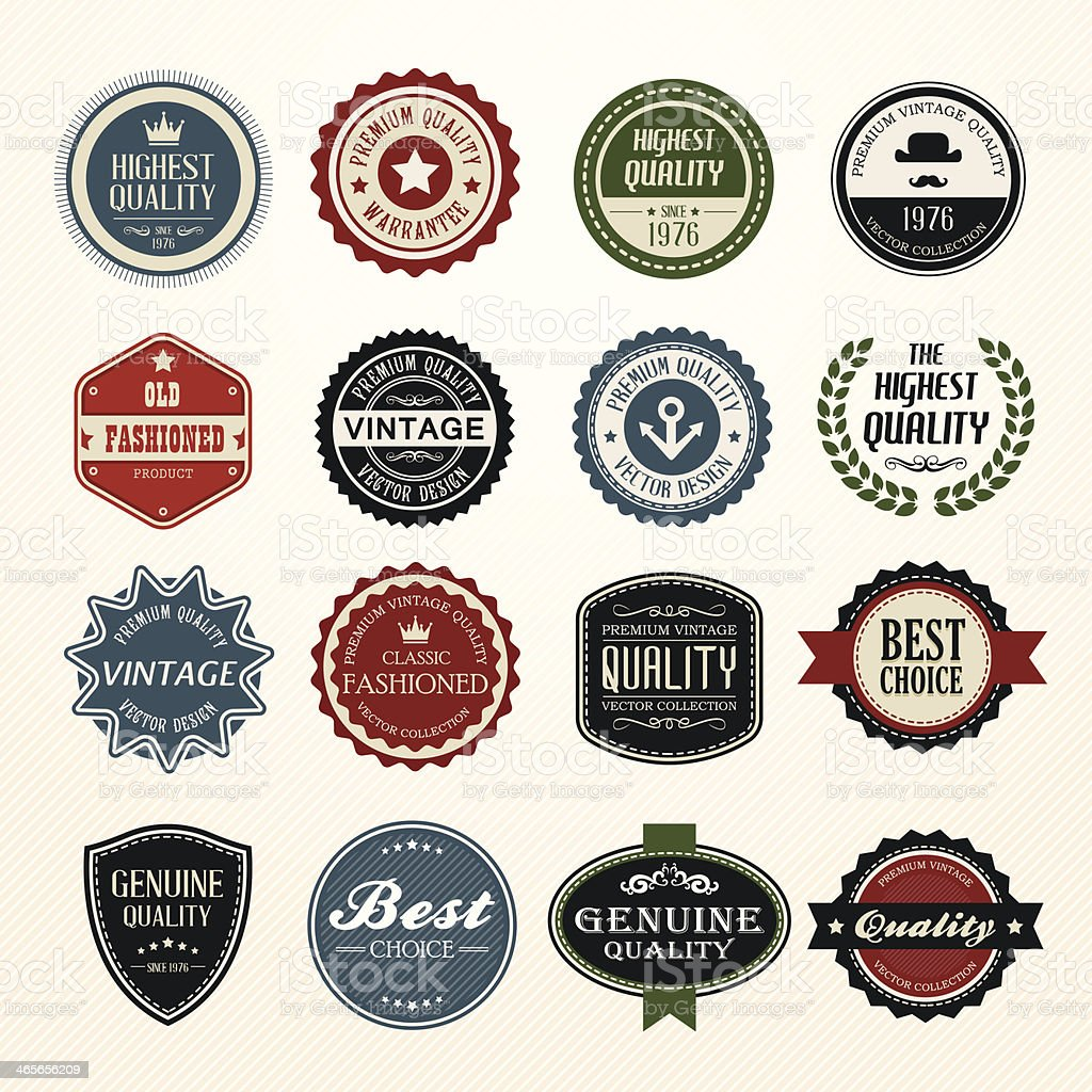 Set of retro vintage badges and labels royalty-free stock vector art