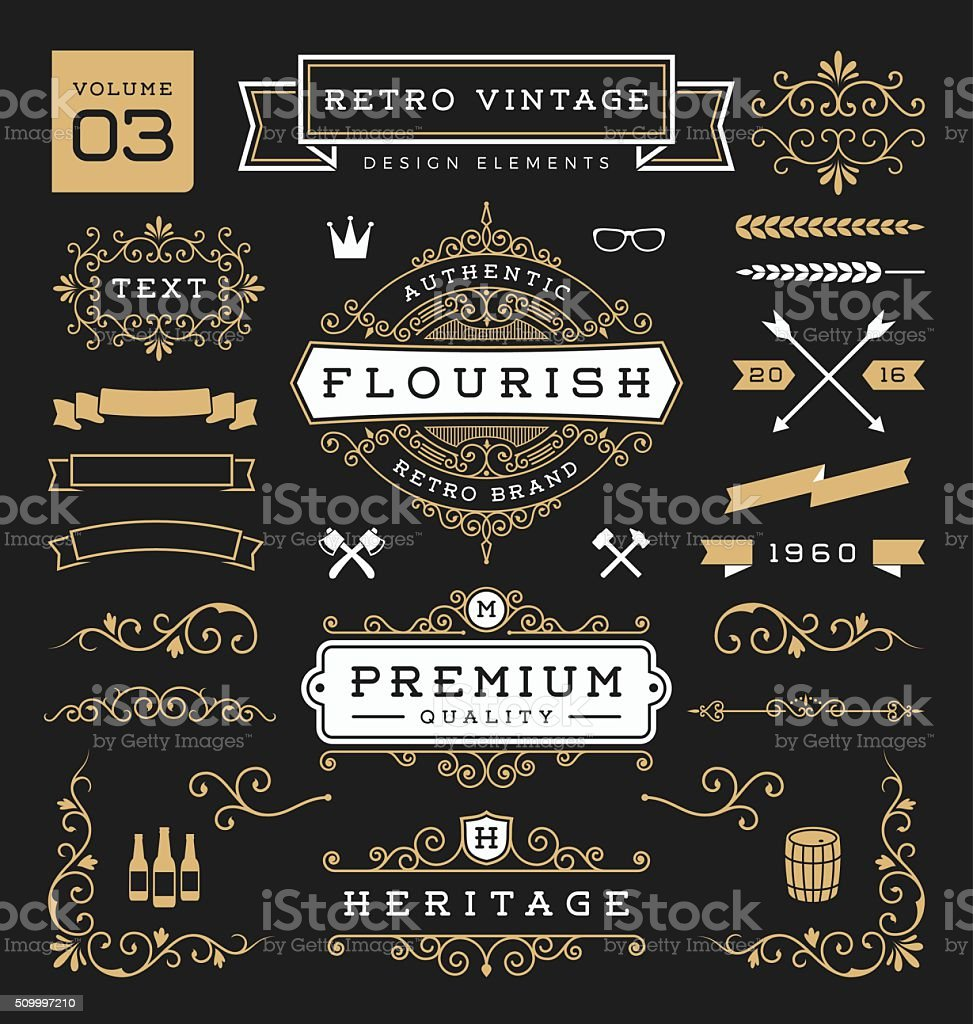 Set of retro vintage graphic design elements. Collection 3 vector art illustration