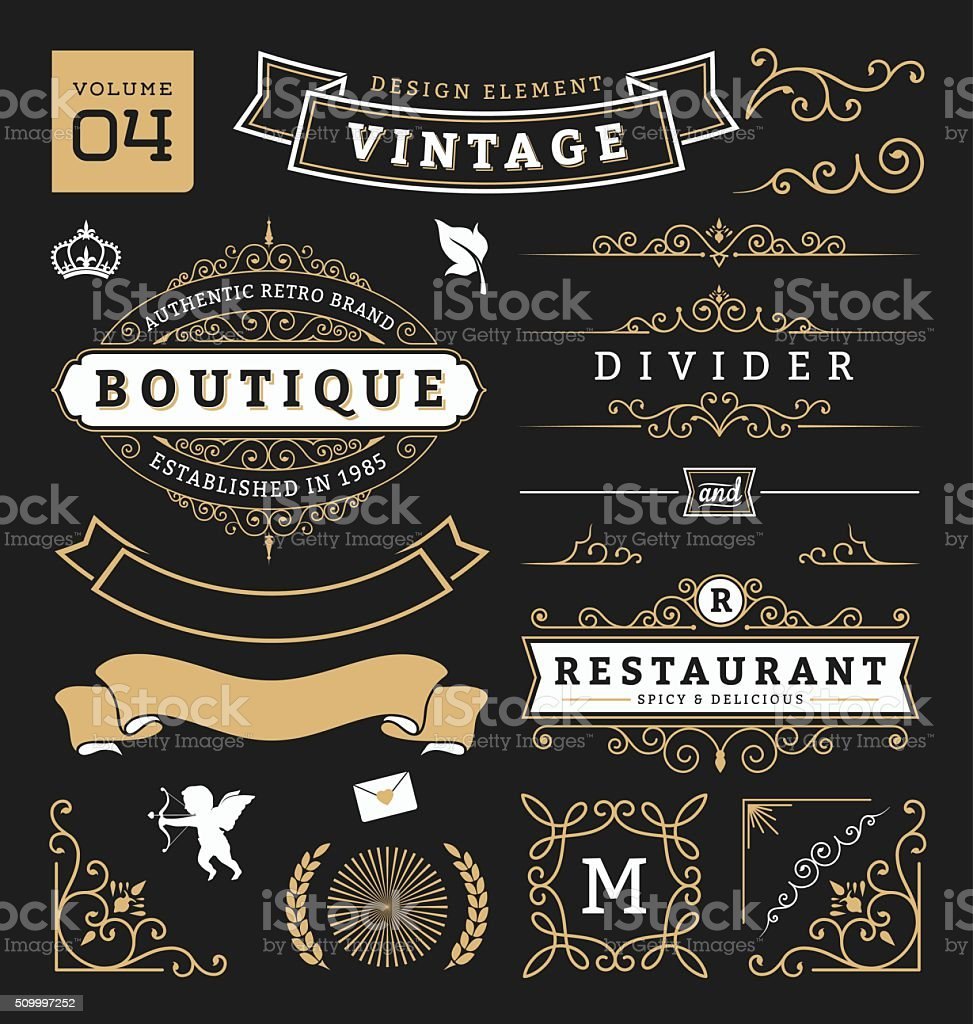 Set of retro vintage graphic design elements. Collection 4 vector art illustration