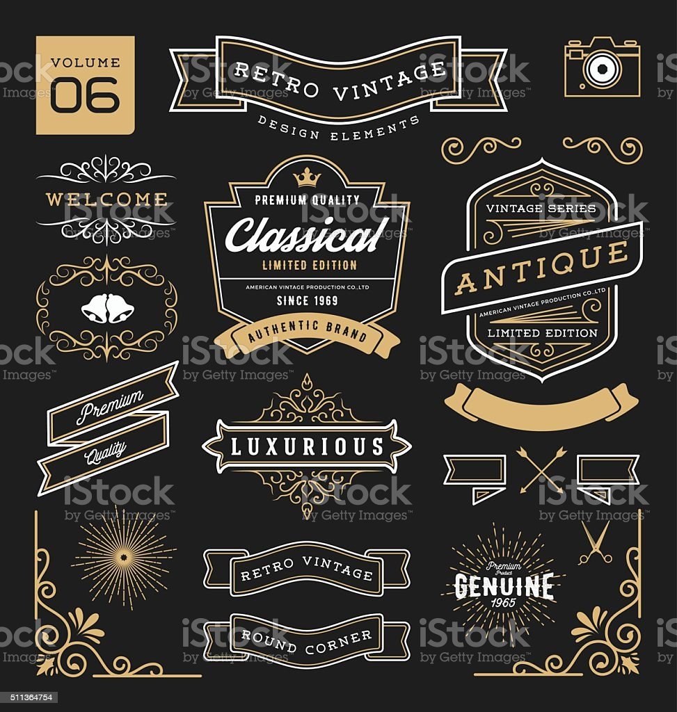 Set of retro vintage graphic design elements. Collection 6 vector art illustration