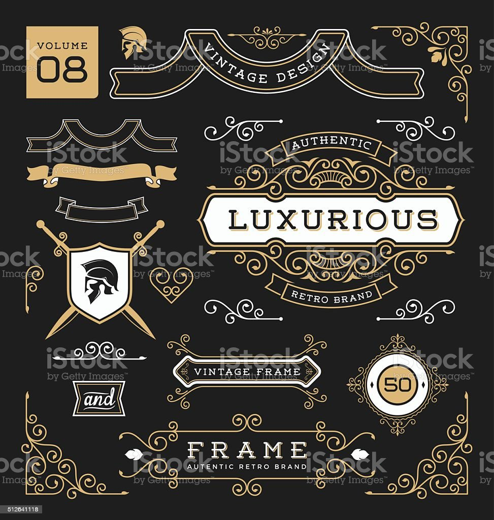 Set of retro vintage graphic design elements. Collection 8 vector art illustration