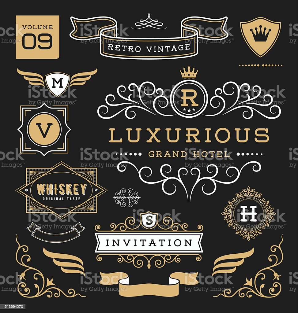 Set of retro vintage graphic design elements. Collection 9 vector art illustration