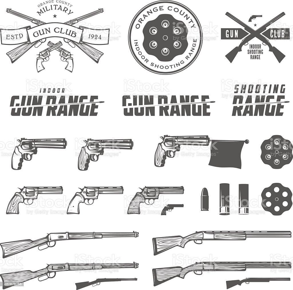 Set of retro weapons labels, emblems and design elements vector art illustration