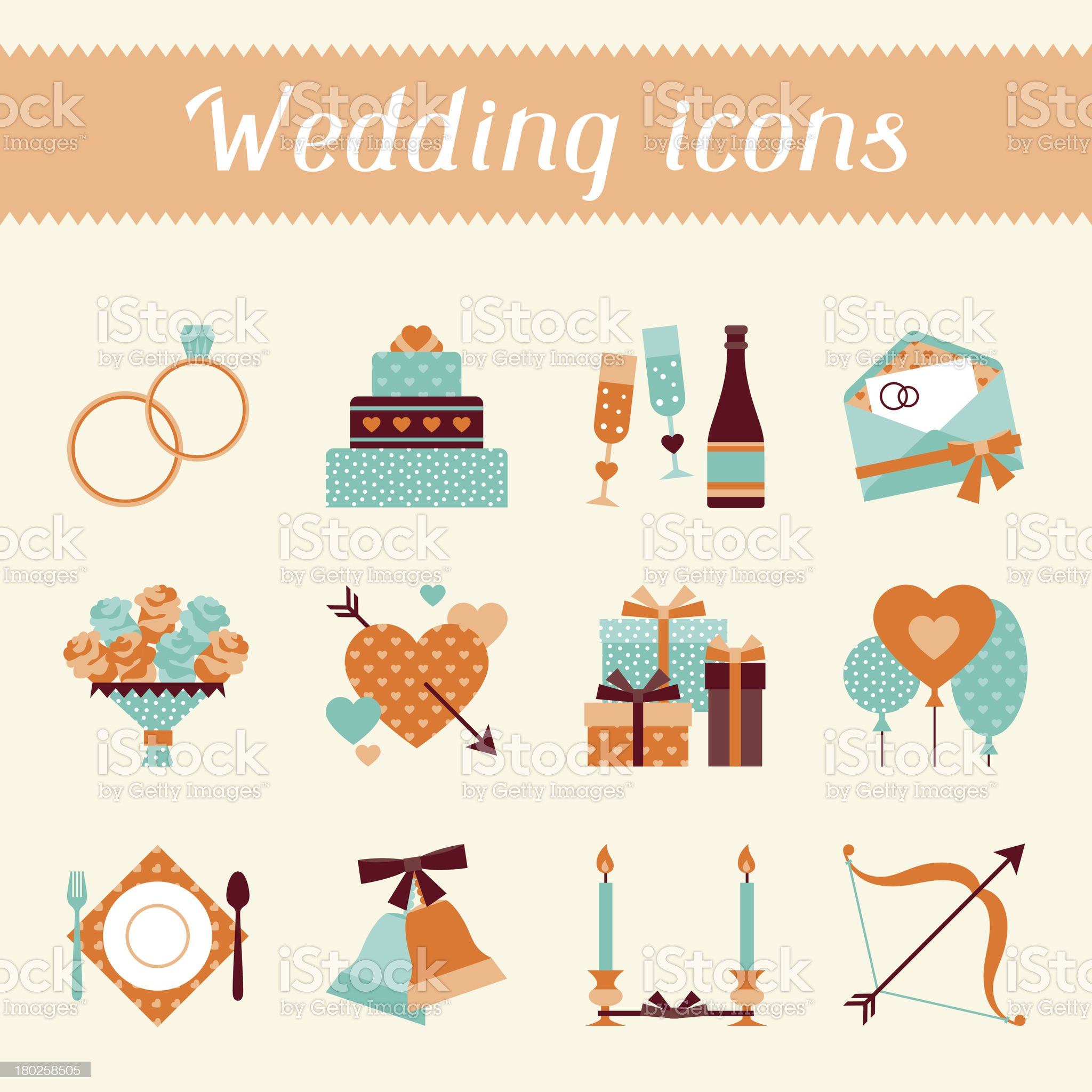 Set of retro wedding icons and design elements. royalty-free stock vector art