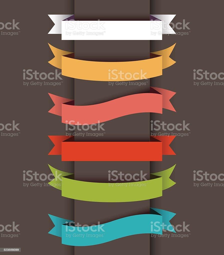 Set of ribbon banner vector art illustration