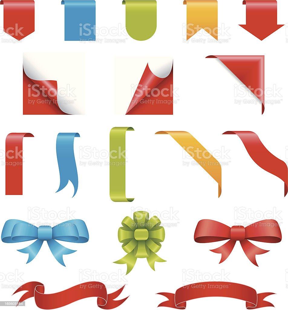 Set of ribbon elements vector art illustration