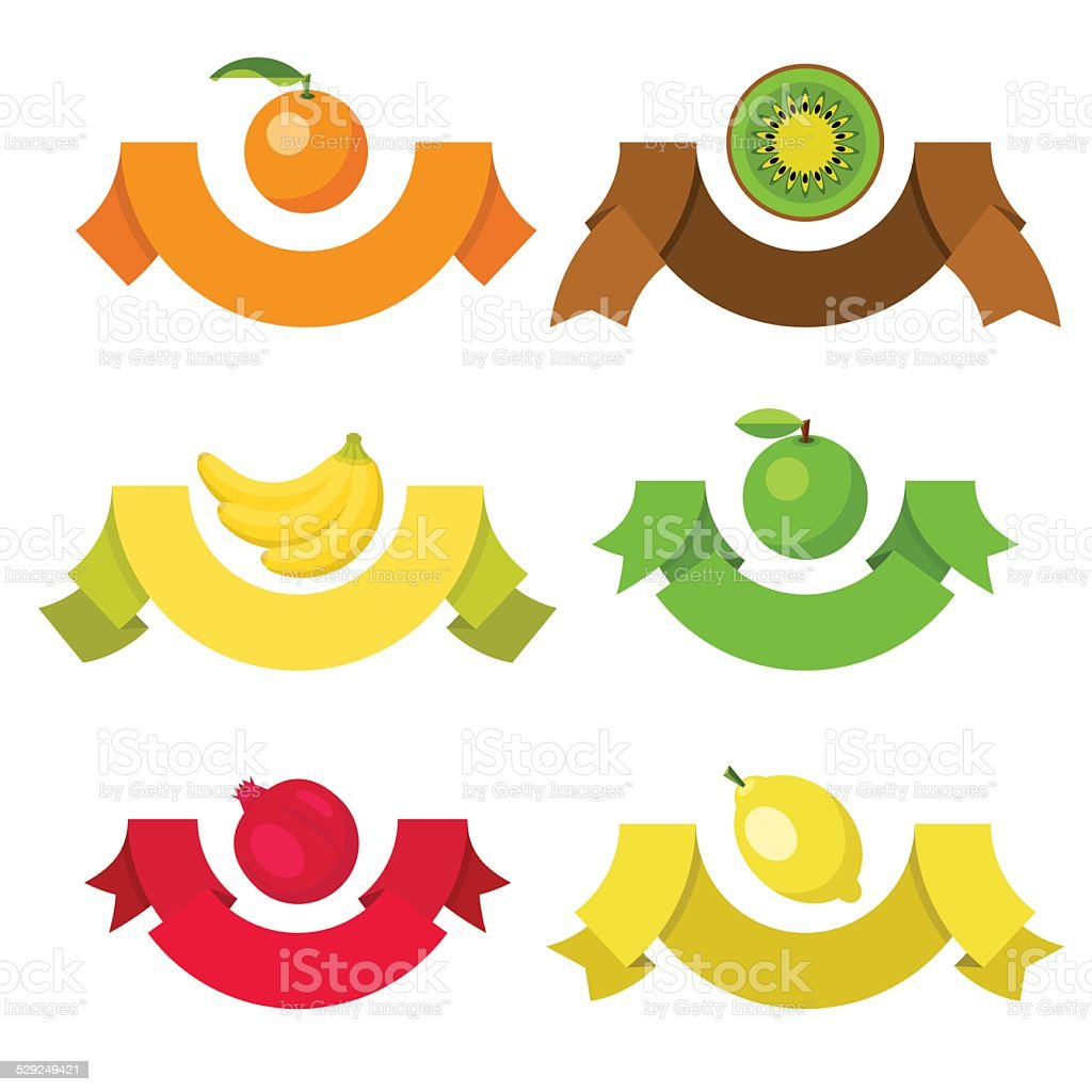 Set of ribbon labels with fruits. vector art illustration