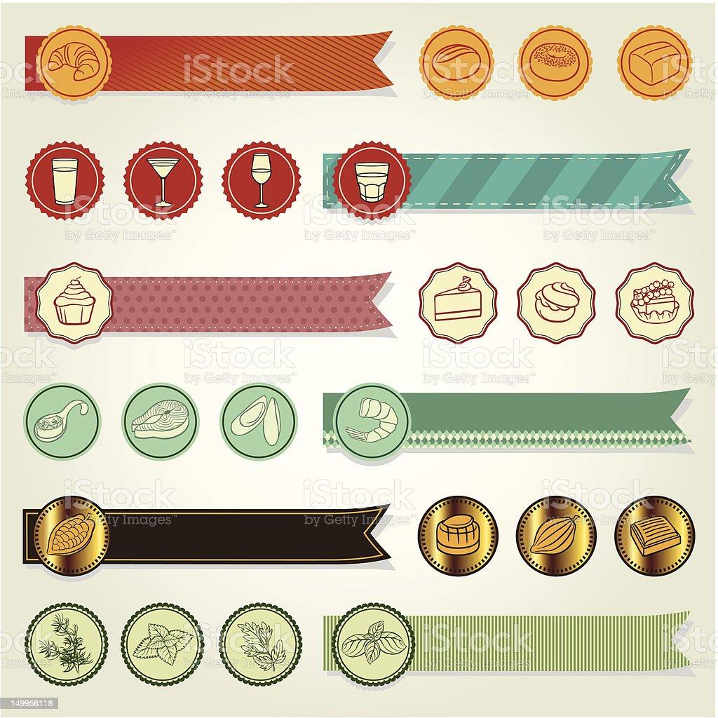 Set of ribbons & icons vector art illustration