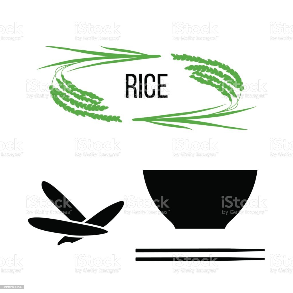 Set of rice plants and bowl with long-grained rice and chopsticks vector art illustration