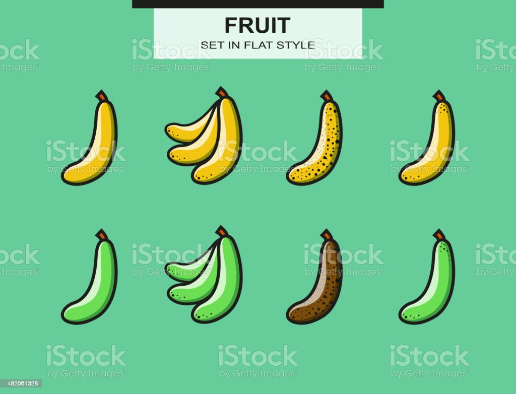Set of ripe and overripe bananas vector art illustration