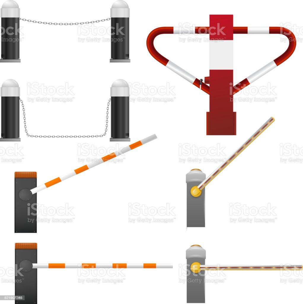 Set of road barriers vector art illustration