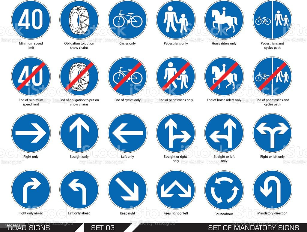 Set of road signs. Signboards. vector art illustration