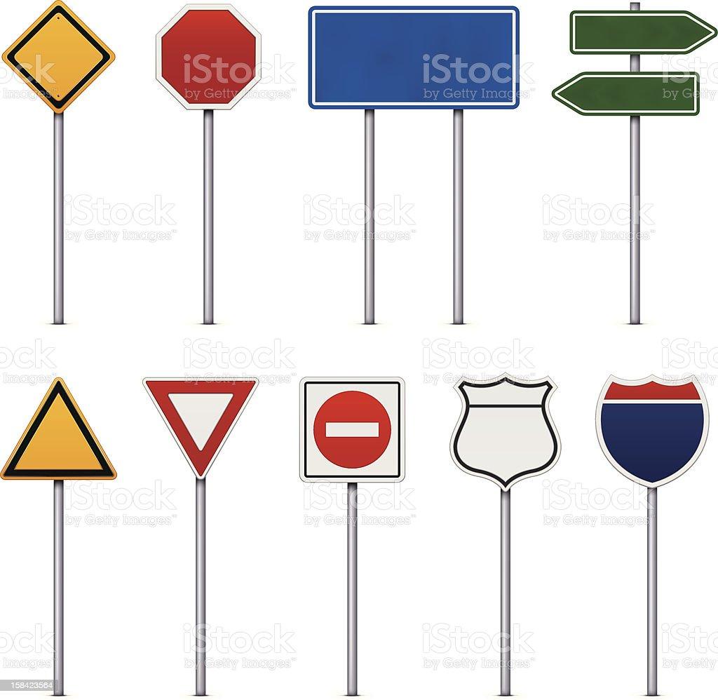 Set of Road Signs vector art illustration