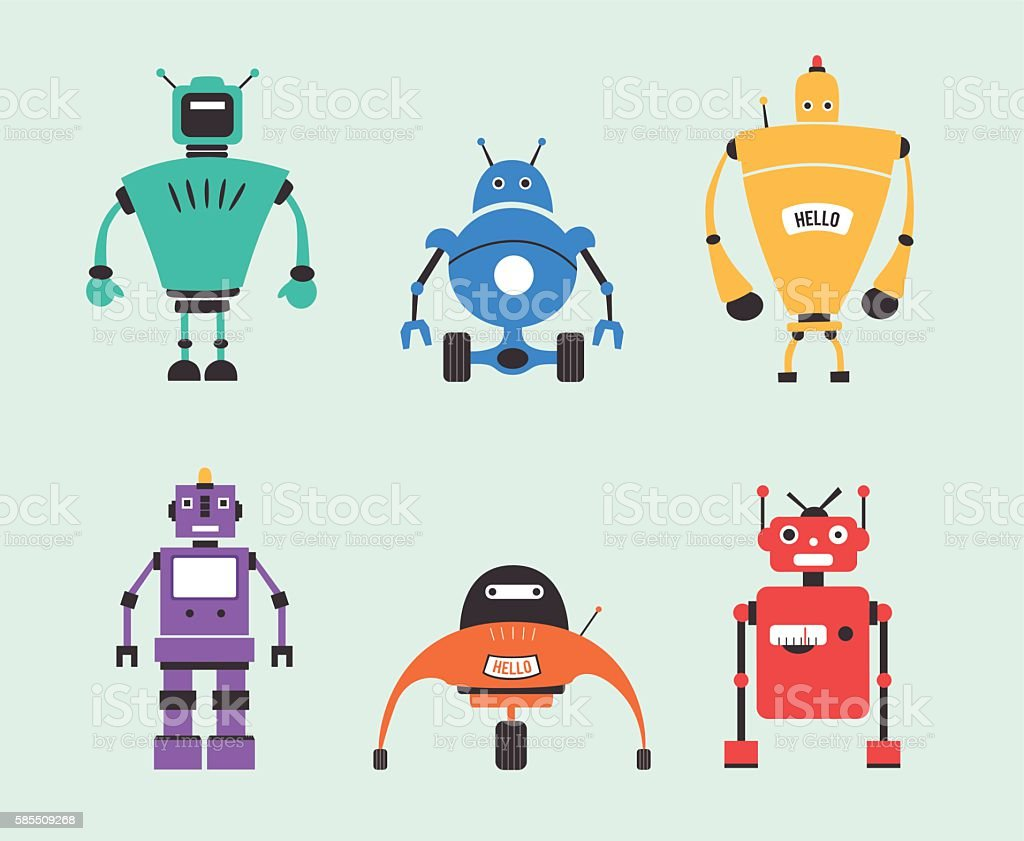 Set of robots. Vintage style. Cartoon vector illustration vector art illustration