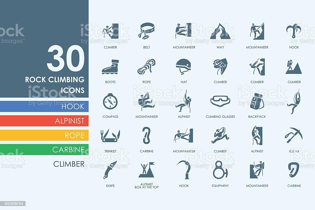Set of rock climbing icons vector art illustration