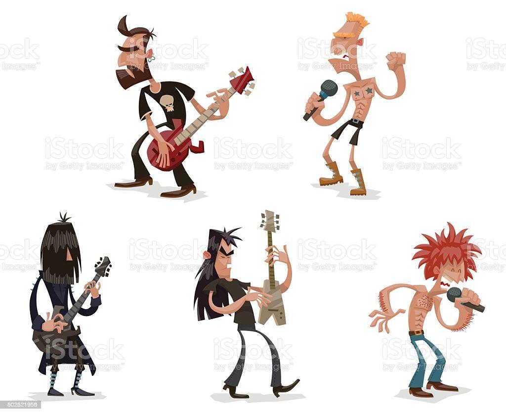 Set of rock musicians vector art illustration