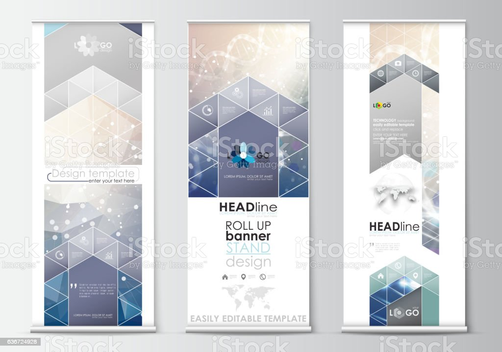 Set of roll up banner stands, flat design templates, abstract vector art illustration