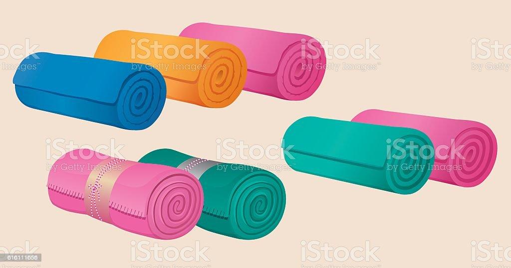 Set of rolled blankets, comforters or duvets, gymnastic mats. vector art illustration