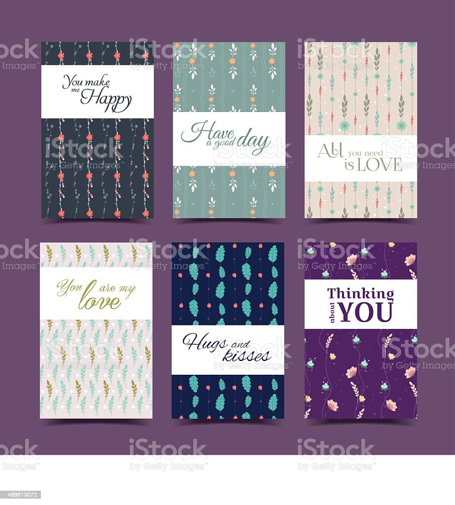 Set of romantic floral collection vector art illustration