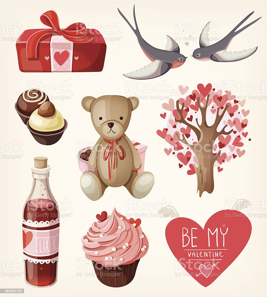 Set of romantic items for valentine day vector art illustration
