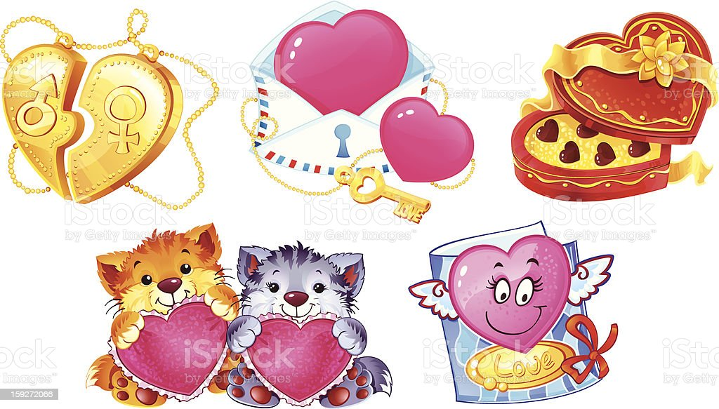 Set of romantic symbols for Valentin's Day royalty-free stock vector art