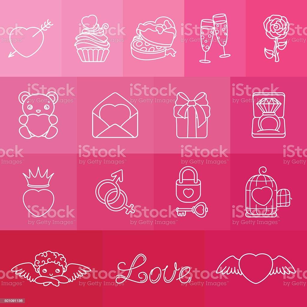 Set of romantic symbols for Valentin's Day vector art illustration