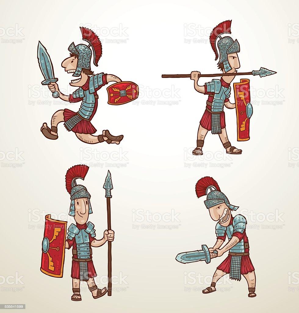 Set of Rome warriors vector art illustration