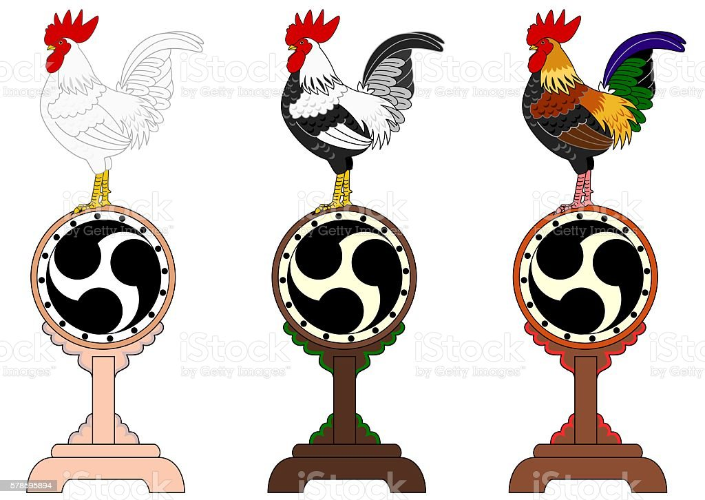set of roosters standing on Japanese old drums vector art illustration