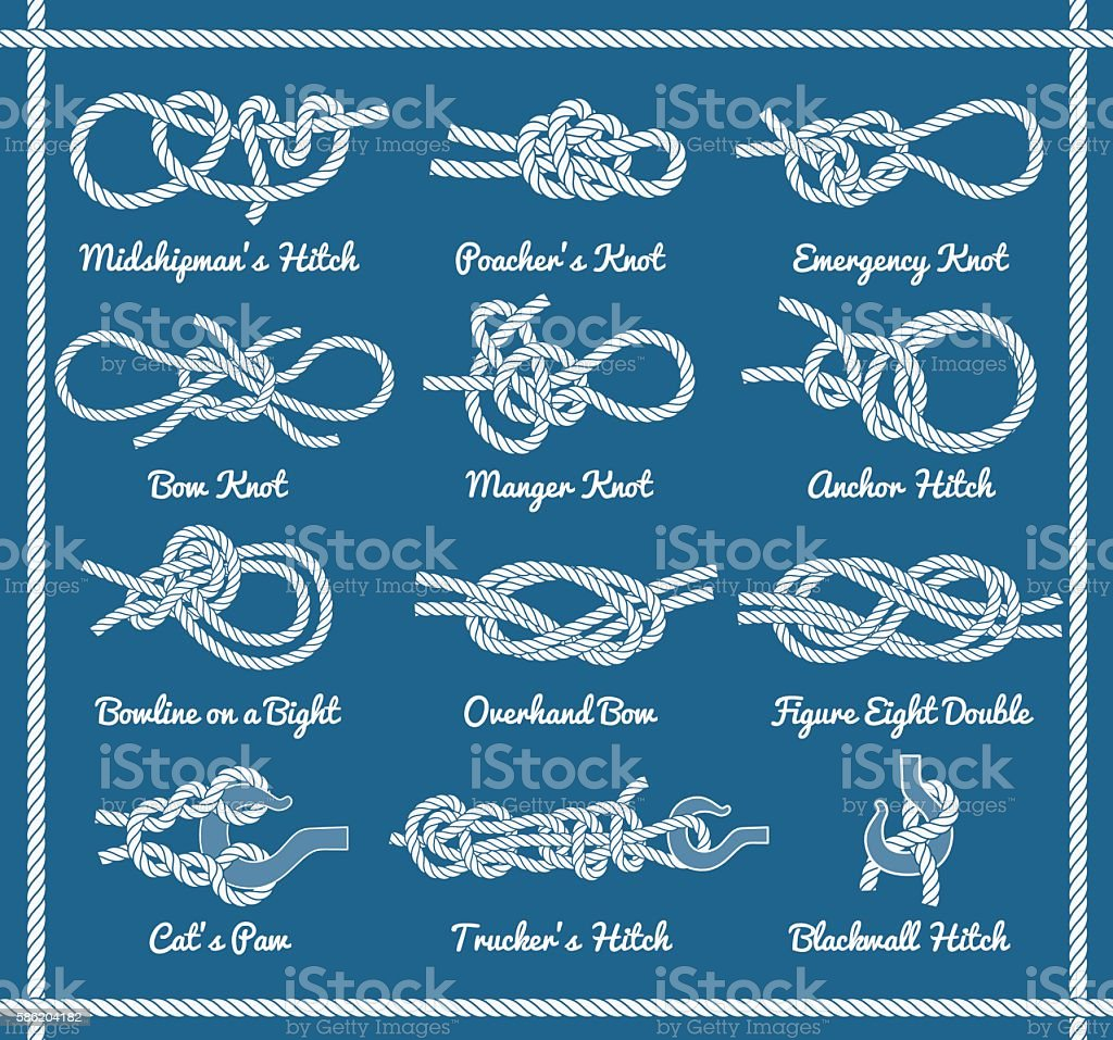 Set of rope knots, hitches, bows, bends vector art illustration