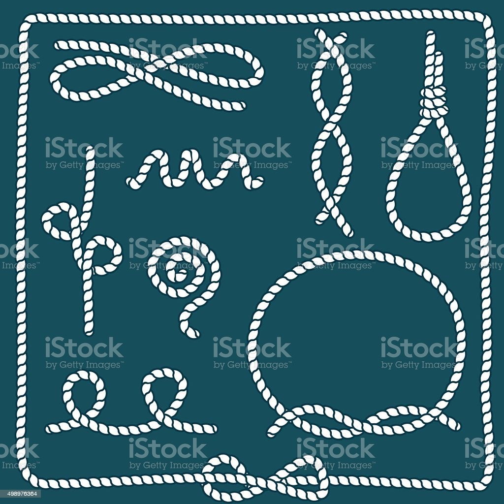 Set of ropes in different shapes vector art illustration