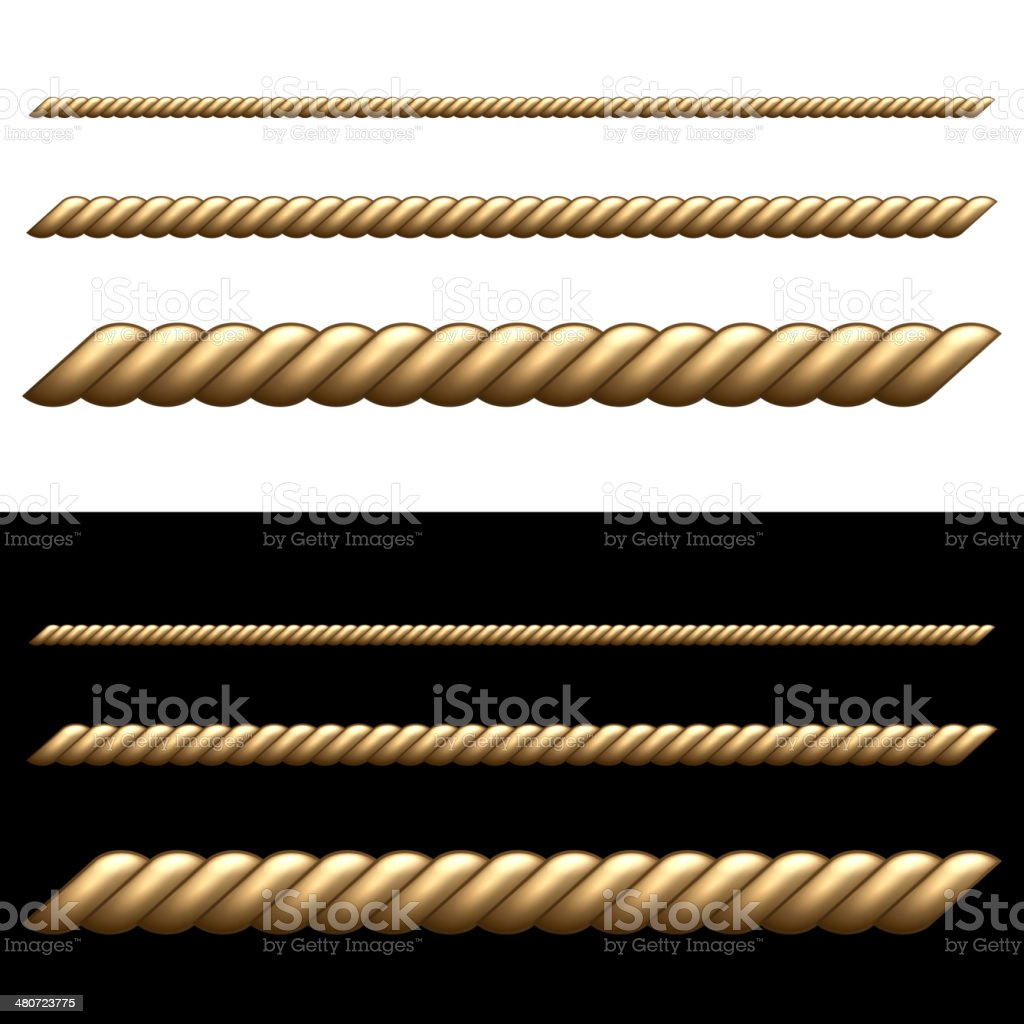 Set of Ropes Isolated on White and Black Backgrounds. royalty-free stock vector art